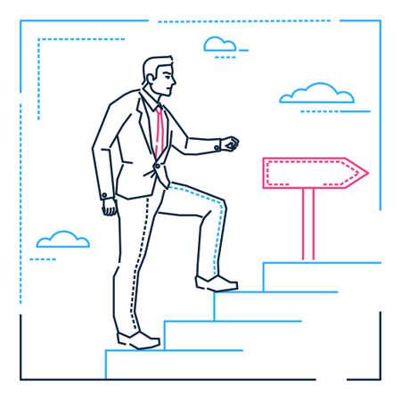 Hombre de negocios subiendo una escalera - ilustración de estilo de diseño de línea sobre fondo blanco. Imagen lineal metafórica de un joven caminando arriba, persiguiendo su objetivo, sueños. Tema de desarrollo personal