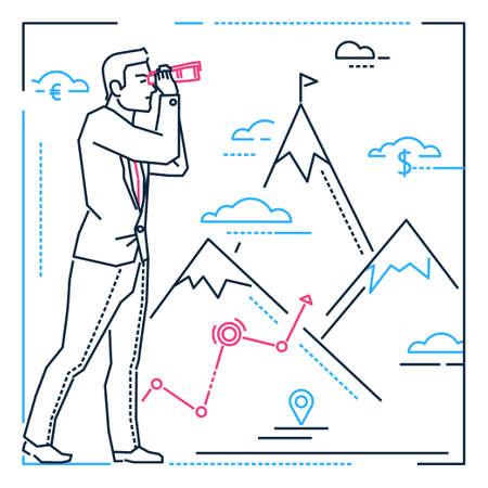 Empresario mirando hacia adelante - Ilustración de estilo de diseño de línea sobre fondo blanco con siluetas de montañas, dinero, etiquetas geográficas. Una persona que examina la vista con un binocular, planificando su futuro. Ilustración de vector