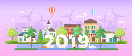 Eco town - modern flat design style vector illustration Vectores