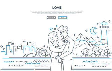 Love - line design style banner on white background with place for your text. High quality composition with a happy young man and woman hugging, mountains, lighthouse, moon, skyscrapers. Romantic date