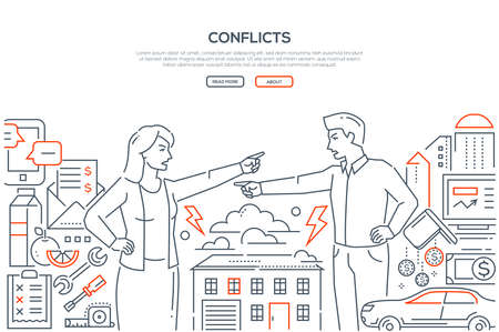 Conflicts - line design style banner on white background with place for your text. A composition with a young couple having a disagreement, quarrel, shouting at each other. Relations concept