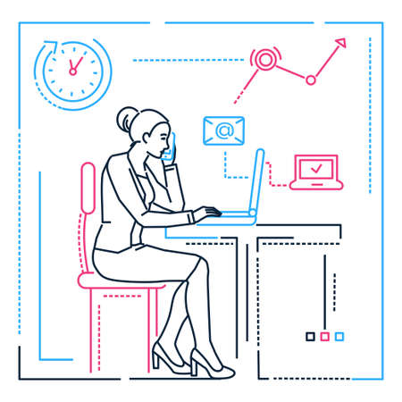 Businesswoman at the computer - line design style illustration Illustration
