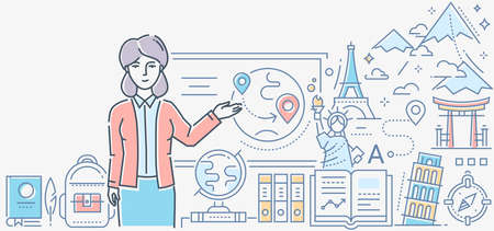 Geography lesson - colorful line design style illustration on white background. A composition with a female teacher standing at the board showing a globe, world landmarks, symbols of countries