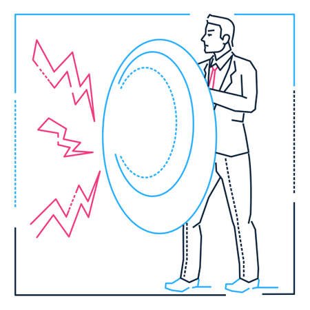 Businessman with a shield - line design style isolated illustration on white background. Metaphorical image of a young smart man protecting himself against lightning, problems, difficulties or rivals Illustration
