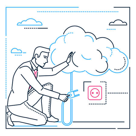 Businessman searching for ideas - line design style illustration on white background. Metaphorical image of a confident person, manager, employee going to turn on a big cloud. Inspiration theme Ilustração