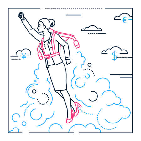 Businesswoman flying with a jetpack - line design style illustration on white background with silhouettes of clouds and dollar signs. Metaphorical image of a woman, girl, female in the atmosphere
