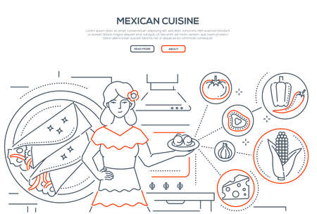 Mexican cuisine - line design style banner on white background with place for text. A composition with a female cook holding plate with dish, images of traditional food, tortilla, corn, cheese