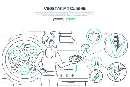 Vegetarian cuisine - line design style banner on white background with place for text. A young woman holding a plate with healthy food, images of vegetables, corn, tomato, pepper, carrot, mushrooms