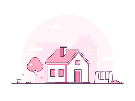 Cottage - modern thin line design style vector illustration