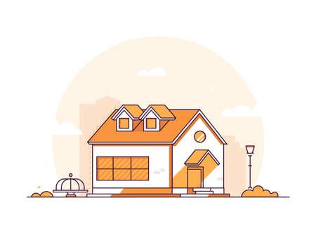 Cottage maison - illustration vectorielle de style moderne ligne mince design