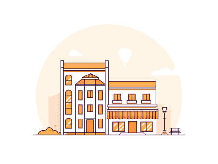 City buildings - modern thin line design style vector illustration