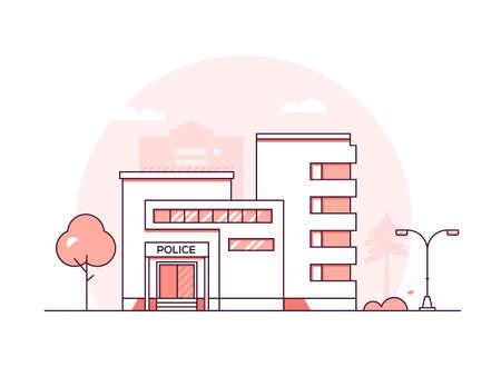 Estación de policía - ilustración de vector de estilo de diseño de línea fina moderna