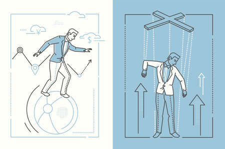 Business stability - set of line design style illustrations on white and blue background. Two high quality banners with businessman balancing on a ball and being a puppet under control