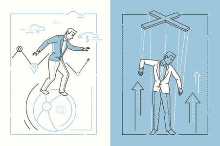 Bedrijfsstabiliteit - reeks de stijlillustraties van het lijnontwerp op witte en blauwe achtergrond. Twee hoge kwaliteit banners met zakenman balanceren op een bal en een marionet onder controle Vector Illustratie