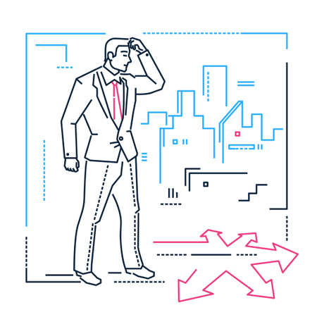 Businessman hesitating - line design style isolated illustration on white background. Metaphorical image of man doubting where to go, at the crossroads. City silhouette. Decision-making concept