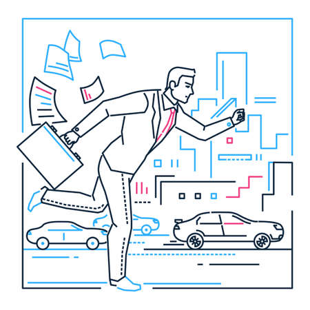 Businessman late for a meeting - line design style illustration on white background with silhouettes of cars, buildings. Metaphorical image of a person with a case running. Targeting concept