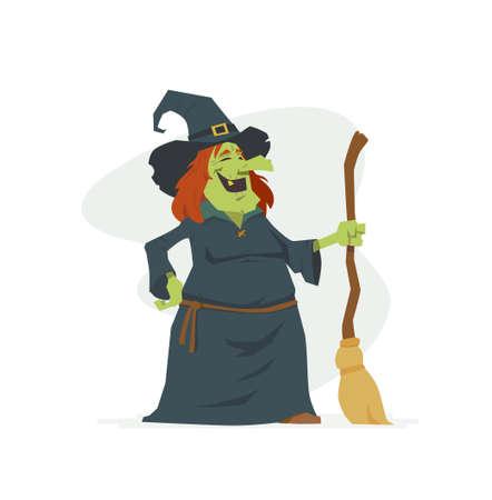 Hexe - lokalisierte Illustration der Karikaturleute auf weißem Hintergrund. Lachendes Halloween-Symbol mit einem Besen und einem Hut. Perfekt für Banner und Präsentationen Vektorgrafik
