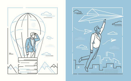 Ambitions - set of line design style illustrations on white and blue background. Two high quality banners with businessman in a balloon and flying on paper plane. Business planning, motivation concept