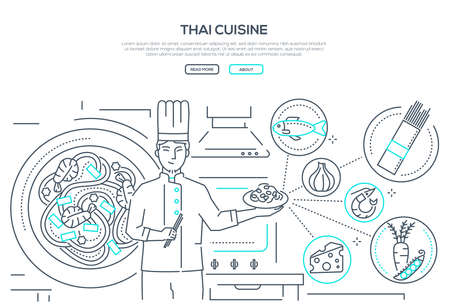 Thai cuisine - line design style banner on white background for text. High quality composition with a cook holding plate with dish, images of traditional food, noodles, seafood, fish, vegetables Illustration