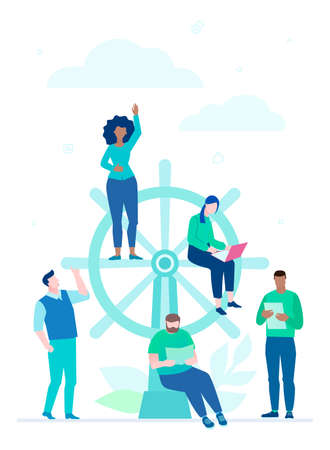 Business management - flat design style illustration on white background. A colorful composition with international team, employees working on a project, metaphorical image of ship steering wheel Stockfoto - 111956260