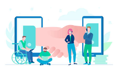 Online business - flat design style illustration on white background. Composition with international team working with their laptops, smartphones. Image of a handshake. Disabled man in wheelchair