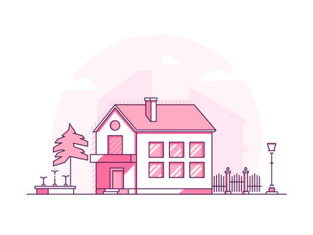 Two storey building - modern thin line design style vector illustration on white background. Pink colored high quality composition with a cottage, lantern, tree, fence, fountain. City architecture Illustration