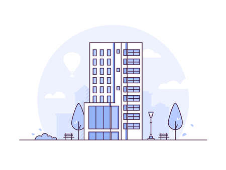 Cityscape - modern thin line design style vector illustration on white background. Purple colored high quality composition with a skyscraper, lantern, bench, trees. Urban architecture concept Illustration