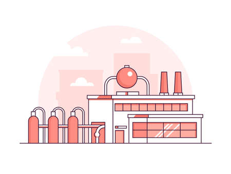 Factory - modern thin line design style vector illustration on white background. Red colored high quality composition with facade of a plant with chimneys, pipes. City architecture. Industrial concept Çizim