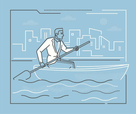 Businessman rowing a boat - line design style illustration on blue background with silhouettes of clouds, city buildings. Metaphorical image of a young hard-working person, progressing a goal