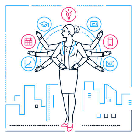 Multitasking - line design style illustration on white urban background. Metaphorical image of a businesswoman juggling with tasks. Education, mailing, timetable, computer, smartphone, infographics