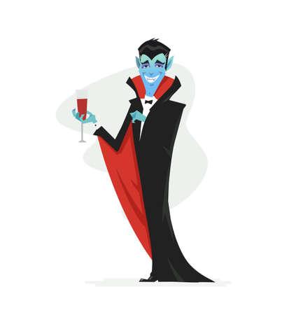 Vampir - Karikaturmenschen isolierte Illustration auf weißem Hintergrund. Lächelndes Halloween-Symbol in einem schwarzen Mantel, der mit einem Glas Blut steht. Perfekt für Banner und Präsentationen