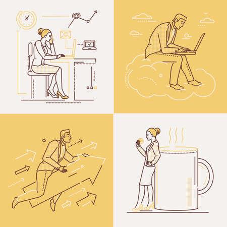 Büroleben - Reihe von Liniendesign-Stilillustrationen auf weißem und gelbem Hintergrund. Vier Bilder von selbstbewussten Frauen und Männern. Kaffeepause, Ehrgeiz, Arbeiten mit Laptop, Zeitmanagement-Themen