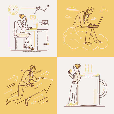 Office life - set of line design style illustrations on white and yellow background. Four images of confident woman and man. Coffee break, ambition, working with laptop, time management themes