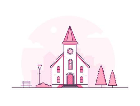 Kleine kerk - moderne dunne lijn ontwerp stijl vectorillustratie