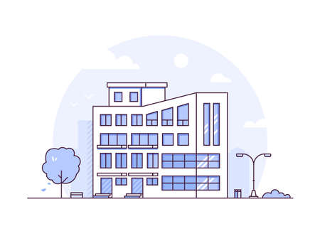 Cityscape - modern thin line design style vector illustration