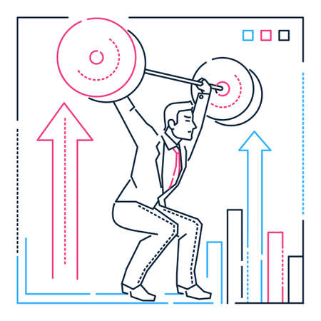 Businessman lifting a heavy bar - line design style illustration on white background. Metaphorical linear composition with a confident hard-working person, overcoming difficulties. Goal achievement concept