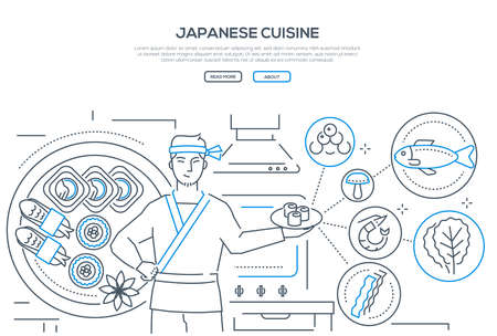 Japanese cuisine - line design style banner on white background with place for text. A composition with a cook holding plate with dish, images of traditional food, sushi, rolls, nori and seafood