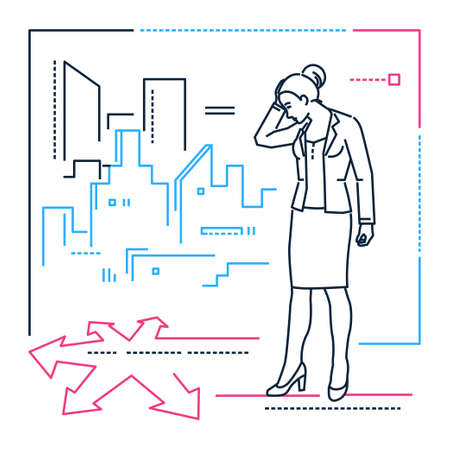 Businesswoman at the crossroads - line design style illustration on white background. Metaphorical linear image of woman, girl, female doubting where to go. City silhouette. Decision-making concept
