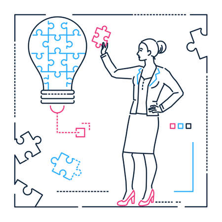 Businesswoman doing puzzle - line design style illustration on white background. Metaphorical image of a lightbulb. Woman, girl, female putting pieces together, looking for ideas. Creativity concept