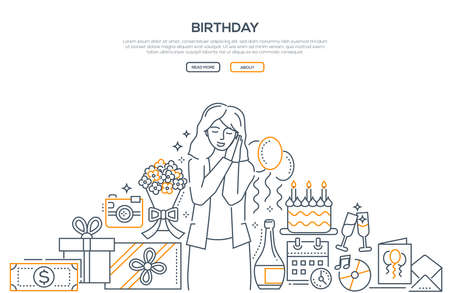 Birthday - line design style banner on white background with place for text. High quality composition with a young woman celebrating, presents, cake, money, postcard, a bottle of champagne, flowers