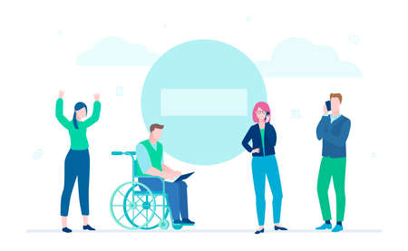 Business problem - flat design style illustration on white background. Business team in a difficult situation, having troubles. Image of a big stop sign. Disabled man in wheelchair working at laptop Illustration