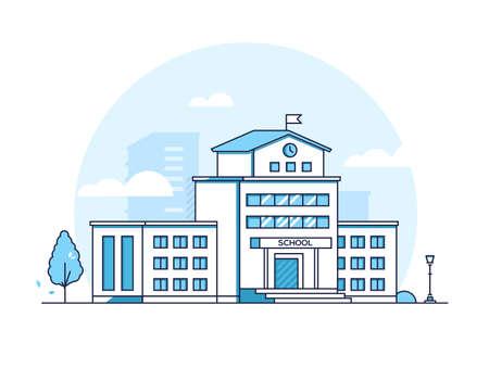 School building - modern line design style illustration Stock Illustratie
