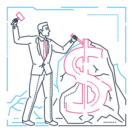 Businessman making money - line design style illustration on white background. Metaphorical blue, pink, black image of person carving a dollar sign out of stone. Increase of income, financial concept