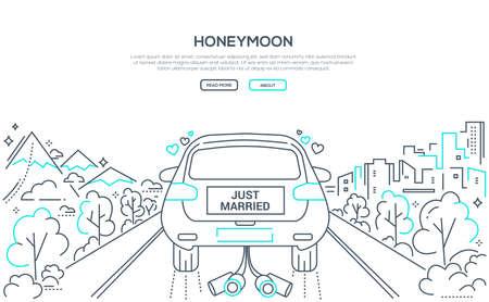 Luna de miel - banner de estilo de diseño de línea sobre fondo blanco con lugar para el texto. Composición de alta calidad con un coche de bodas con los novios en la carretera. Concepto de matrimonio feliz Ilustración de vector