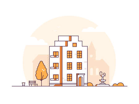 Apartment house - modern thin line design style vector illustration on white background. Orange colored composition with a three storey building, bench, bin, tree, fountain. City architecture concept