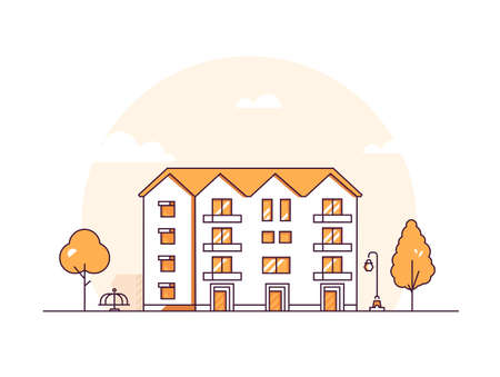 Apartment house - modern thin line design style vector illustration on white background. Orange colored composition with a nice four storey building, lantern, merry go round, trees. City architecture Stock Illustratie