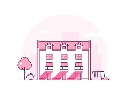 Apartment house - modern thin line design style vector illustration on white background. Pink colored high quality composition with a building, tree, swing, merry-go-round. Urban, suburban landscape