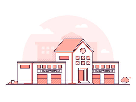 Fire department - modern thin line design style vector illustration on white urban background. Red colored high quality composition with public safety building with dormer window. City architecture