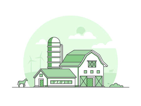 Village - modern thin line design style vector illustration on white background. Green colored high quality rural landscape with a barn, bush, silage tower, horse. Eco, organic farming concept
