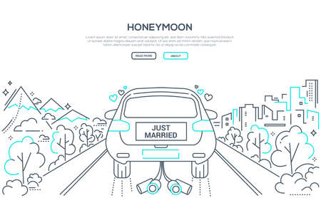 Honeymoon - line design style banner on white background with place for text. High quality composition with a wedding car with bride and groom going on the road. Happy marriage concept